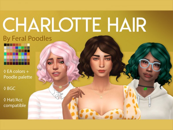 The Sims Resource: Charlotte Hair Retextured by feralpoodles for Sims 4
