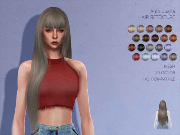 The Sims Resource: Anto`s Juana Hair Retextured by Lisaminicatsims for Sims 4