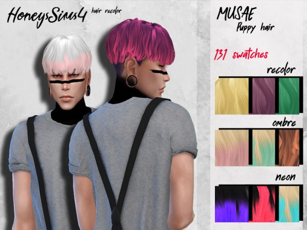 The Sims Resource: Musae`s Puppy hair recolored by HoneysSims4 for Sims 4