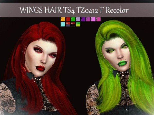 The Sims Resource: Wings Hair TZ0412 F Recolored by Reevaly for Sims 4