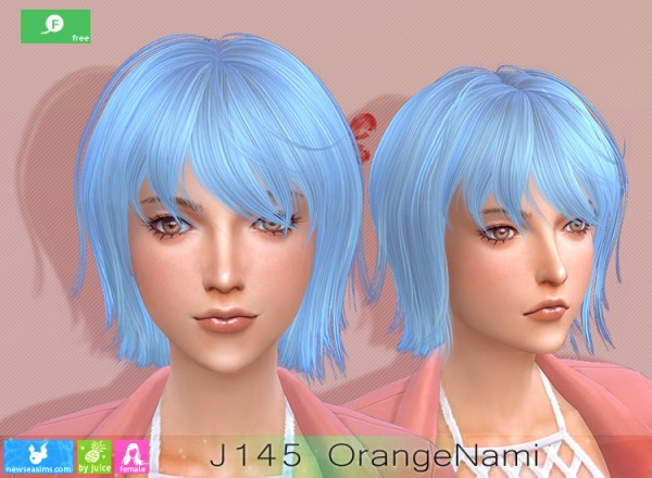 NewSea: J141 Orange Nami Hair for Sims 4