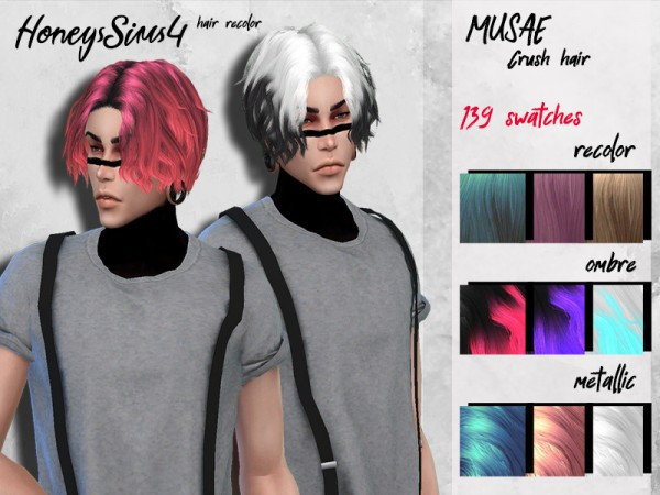 The Sims Resource: Musae`s Crush Hair Retextured by HoneysSims4 for Sims 4