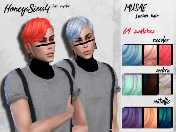The Sims Resource: Musae`s Lucian Hair retextured by HoneysSims4 for Sims 4
