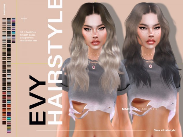 The Sims Resource: Evy Hair by LeahLillith for Sims 4