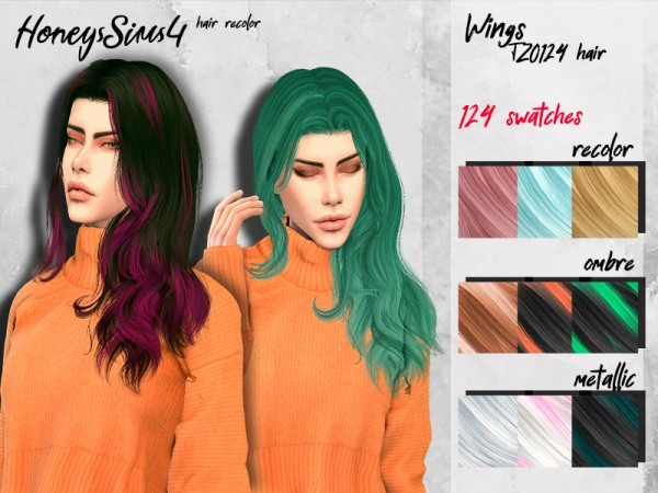 The Sims Resource: Wings TZ0124 Hair Recolored by for Sims 4
