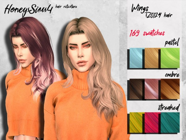 The Sims Resource: Wings TZ0124 Hair Retextured for Sims 4