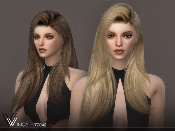 The Sims Resource: WINGS TZ0412 hair for Sims 4