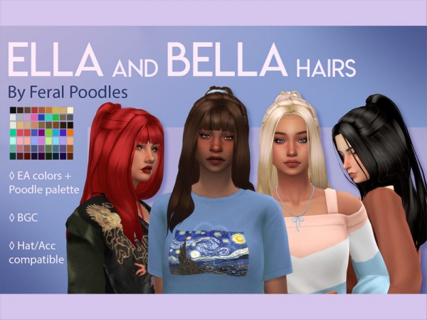 The Sims Resource: Ella Hair by feralpoodles for Sims 4