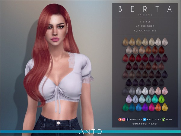 The Sims Resource: Berta Hair by Anto for Sims 4