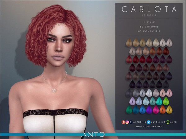 The Sims Resource: Carlota Hair by Anto for Sims 4