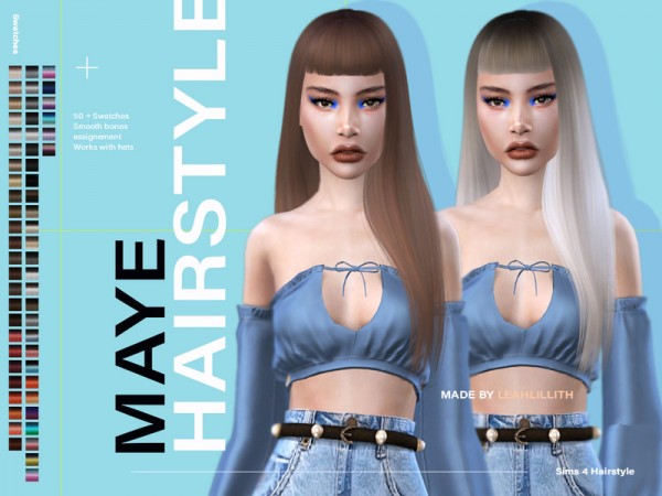 The Sims Resource: Maye Hair by LeahLillith for Sims 4