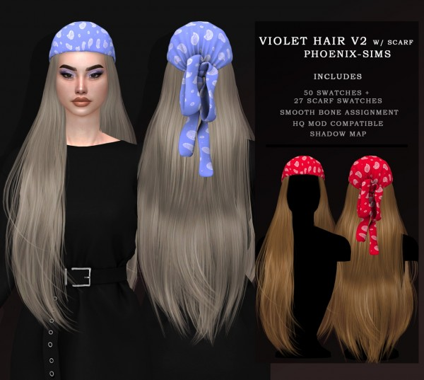 Phoenix Sims: Violet Hair V1/V2 with Scarf for Sims 4