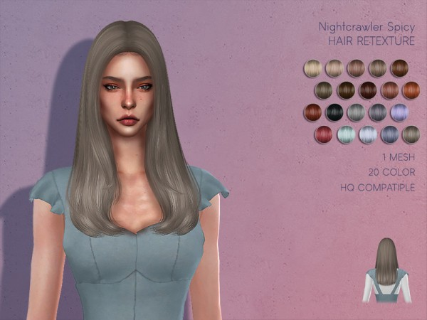 The Sims Resource: Nightcrawler`s Spicy Hair Retextured by Lisaminicatsims for Sims 4