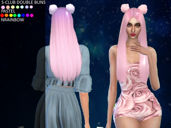 The Sims Resource: S Club`s Double Buns Hair Retextured by leonamcboner for Sims 4