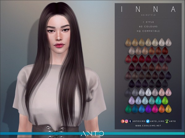 The Sims Resource: Inna Hair by Anto for Sims 4