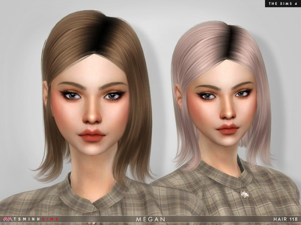 The Sims Resource: Megan Hair 118 by TsminhSims for Sims 4