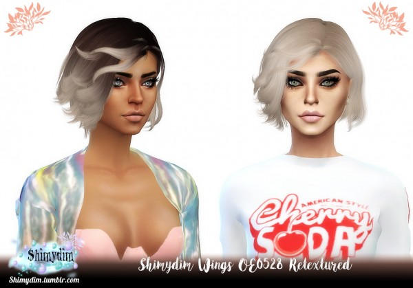 Shimydim: Wings OE0528 hair retextured for Sims 4