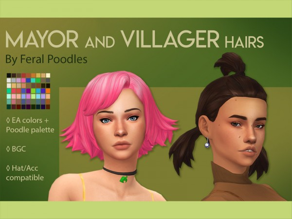 The Sims Resource: Villager Hair Retextured by feralpoodles for Sims 4