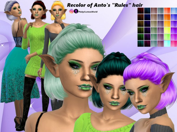 The Sims Resource: Antos Rules hair recolored by PinkyCustomWorld for Sims 4