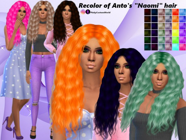 The Sims Resource: Recolor Antos Naomi hair by PinkyCustomWorld for Sims 4