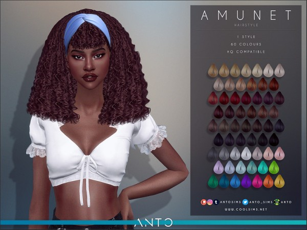 The Sims Resource: Amunet Hair by Anto for Sims 4