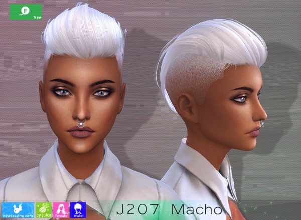 NewSea: J207 Macho Hair for Sims 4