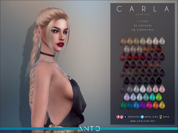 The Sims Resource: Carla Hair by Anto for Sims 4