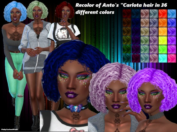 The Sims Resource: Antos Carlota hair recolored by PinkyCustomWorld for Sims 4