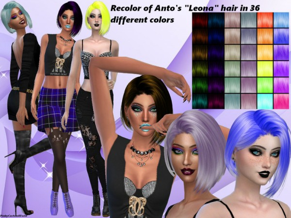 The Sims Resource: Antos Leona hair recolored by PinkyCustomWorld for Sims 4