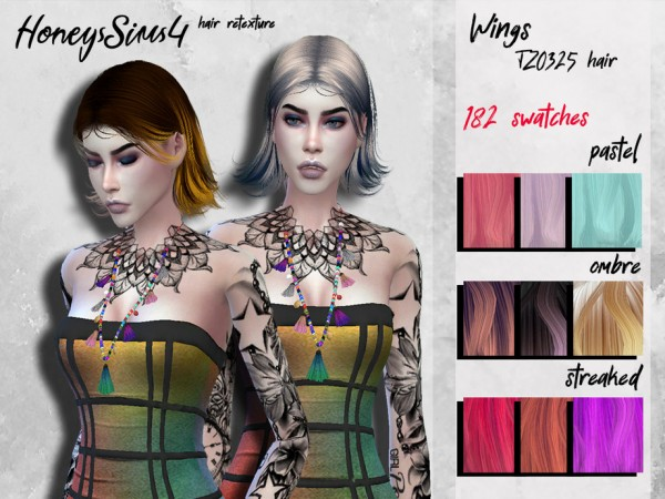 The Sims Resource: Wings TZ0325 Hair Retextured by HoneysSims4 for Sims 4