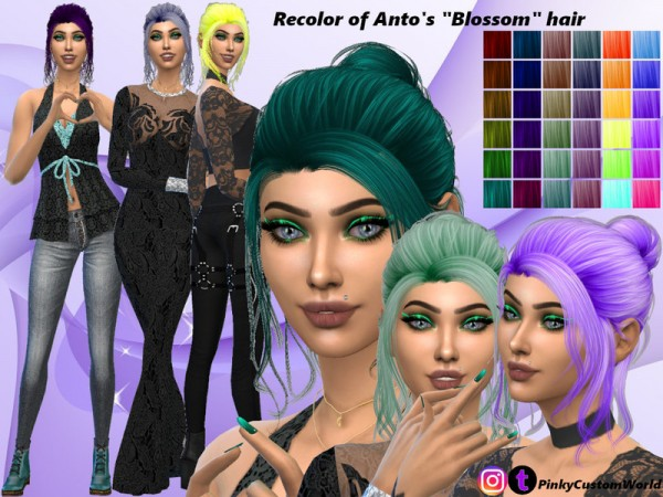 The Sims Resource: Antos Blossom hair recolored by PinkyCustomWorld for Sims 4