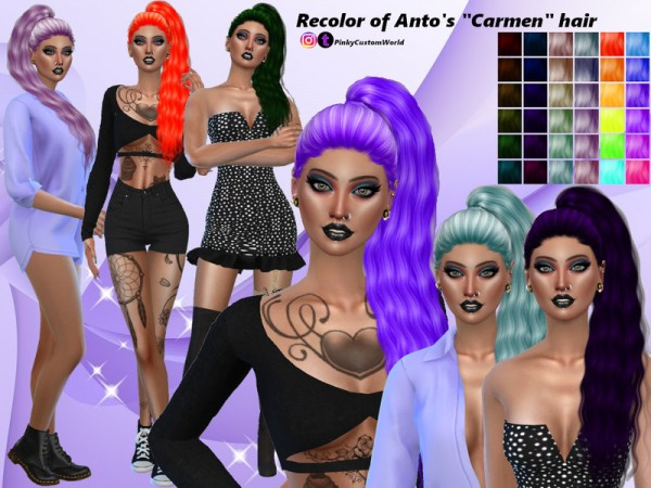 The Sims Resource: Antos Carmen hair recolored by PinkyCustomWorld for Sims 4