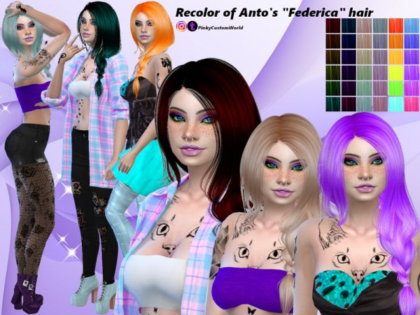 The Sims Resource: Antos Federica hair recolored by PinkyCustomWorld for Sims 4