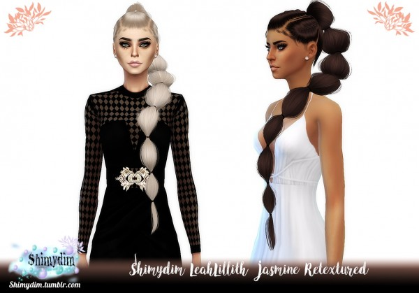Shimydim: LeahLillith`s Jasmine Hair Retextured for Sims 4