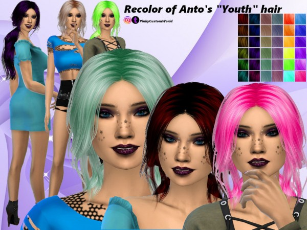 The Sims Resource: Recolor Antos Youth hair by PinkyCustomWorld for Sims 4