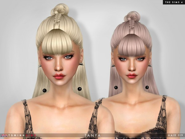 The Sims Resource: Tayna Hair 119 by TsminhSims for Sims 4