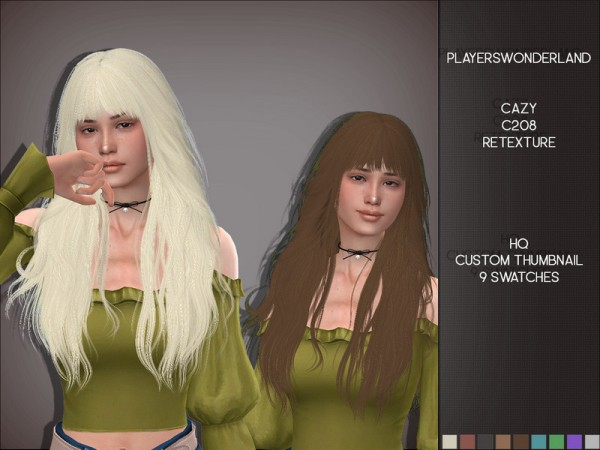 The Sims Resource: Cazy C208 Hair Retextured by PlayersWonderland for Sims 4