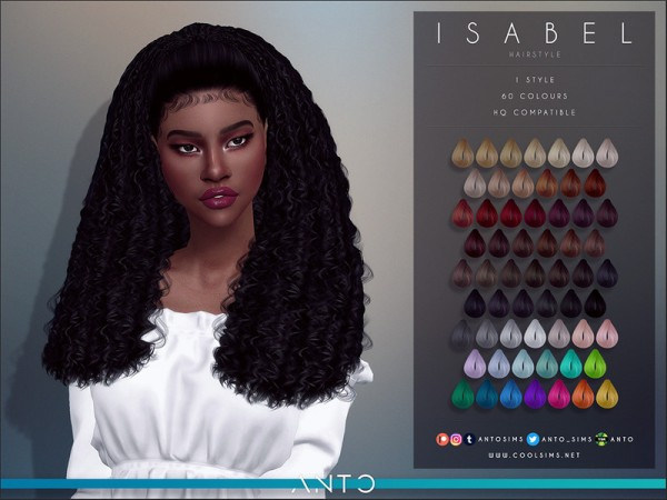 The Sims Resource: Isabel Hair by Anto for Sims 4