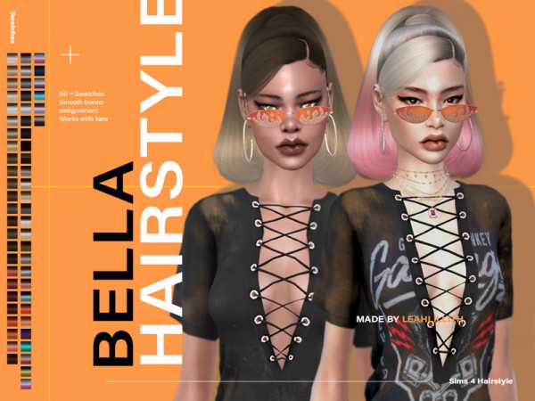 The Sims Resource: Bella Hair by LeahLillith for Sims 4