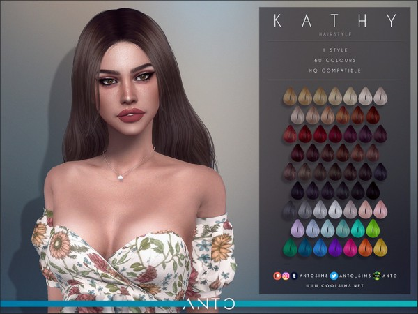 The Sims Resource: Kathy hair by Anto for Sims 4