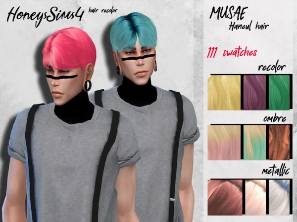 The Sims Resource: Musae`s Haneul Hair Retextured by HoneysSims4 for Sims 4