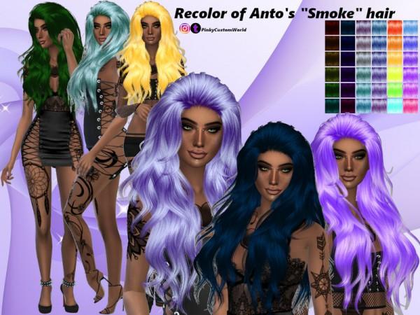The Sims Resource: Antos Smoke hair by PinkyCustomWorld for Sims 4