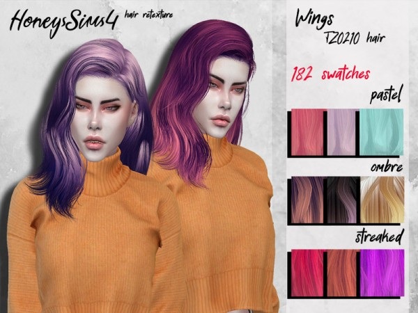 The Sims Resource: Wings TZ0210 Hair Retextured by HoneysSims4 for Sims 4