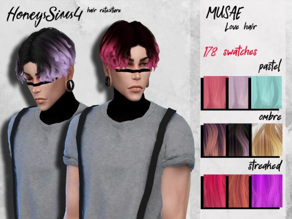 The Sims Resource: MUSAE`s Love Hair Retextured by HoneysSims4 for Sims 4
