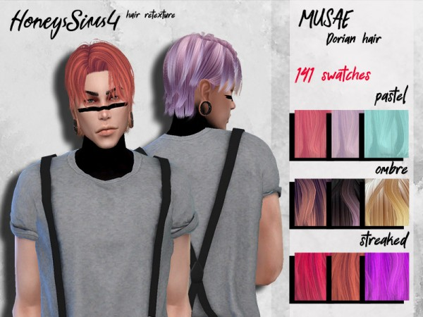 The Sims Resource: Musae`s Dorian Hair Retextured by HoneysSims4 for Sims 4