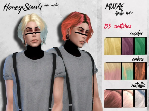 The Sims Resource: MUSAE`s Apollo Hair Retextured by HoneysSims4 for Sims 4
