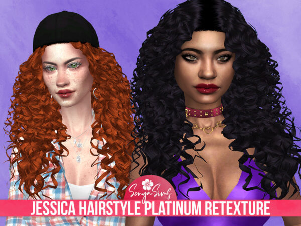 The Sims Resource: Jessica Platinum Hair Retextextured by SonyaSimsCC for Sims 4