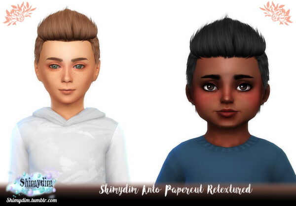 Shimydim: Anto`s Papercut Hair Retextured for Sims 4