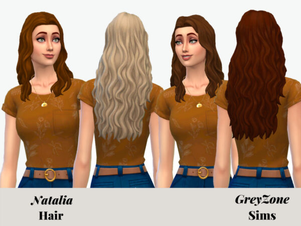 The Sims Resource: Natalia Hair Recolored by greyzonesims for Sims 4
