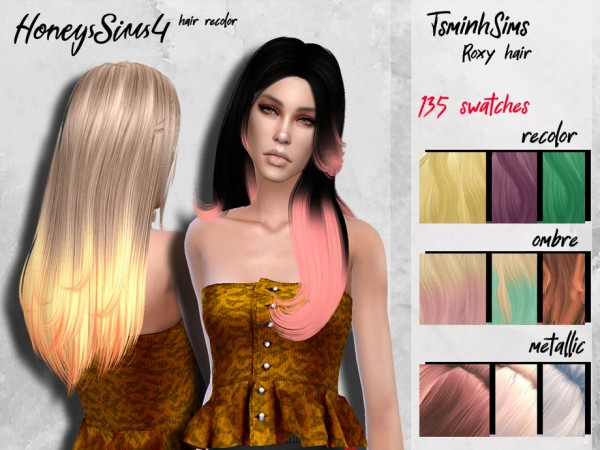 The Sims Resource: Tsminh`s Roxy hair recolored by HoneysSims4 for Sims 4